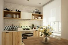 Interior: Small Kitchen With Wooden Kitchen Shelves And Stainless . white washed brick in the kitchen. home decor and interior decorating ideas. Small Apartment Design, Apartment Interior Design, Kitchen Interior, Kitchen Decor, Interior Decorating, Decorating Ideas, Decor Ideas, Studio Apartments, Small Apartments