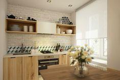 biała cegła na ścianie w kuchni z meblami z drewnianej sklejki - Lovingit.pl