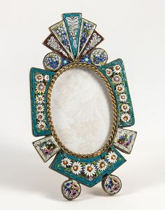 RARE Antique MicroMosaic Frame, Fine Quality Micro Mosaic Rome from antiques-uncommon-treasure on Ruby Lane