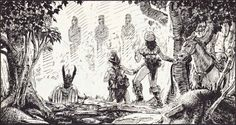 In a clearing you discover four giant stone statues with worn features - the Guardians of the Pass. (Keith Parkinson from D&D module X4: Master of the Desert Nomads by David Cook, TSR, 1983.)