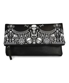 Black Embossed Bandana Skull Fold-Over Clutch by Loungefly #zulily #zulilyfinds