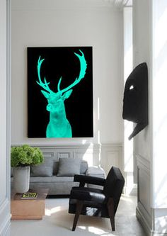 Stag Night, Ready To Hang Canvas Art