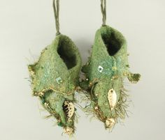Fairy Shoes Moss Green Gold belong to Moss by NellsEmbroidery, $20.00