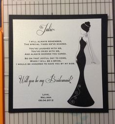6 Custom Will You Be My Bridesmaid Cards / Maid of Honor Personalized Card Invite