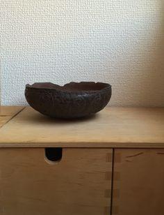 Kumagai Yukiharu ceramic bowl, Jomon period inspired.  The embossing is little bears!