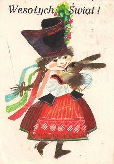 Janusz Stanny (1932-2014)  — Wesołych Swiąt  (647x930) Vintage Greeting Cards, Vintage Postcards, Polish Easter, Polish Folk Art, Hoppy Easter, Easter Card, Chocolate Bunny, Sketchbook Inspiration, Design Inspiration