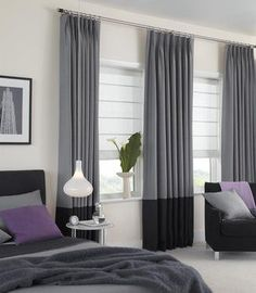 Tailored Pleat Wool Flanel Drapes With Bottom Leading Edge Border