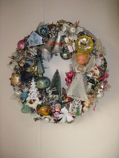 Vintage ornaments wreath. // could be neat for mom & dad's old ornaments!