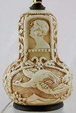 "WELLER 21"" (8.5)"" CLINTON IVORY FACTORY LAMP CAMEOS OF A WOMAN/CRANES IN FLIGHT Weller Pottery, Crane, Ivory, Woman, Home Decor, Homemade Home Decor, Decoration Home, Room Decor, Interior Design"
