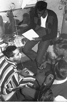 Apollo Theatre 1964. Smoky Robinson and The Temptations rehearsing backstage