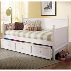 Daybed with Ball Finials and Roll Out Trundle Drawer, White Finish
