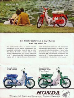 Honda 50, learned to drive on one of these when I was 10.  It was fun until an old lady ran a stop sign an totaled it.