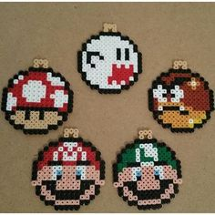 Mario Christmas ornaments perler beads by anypekexa