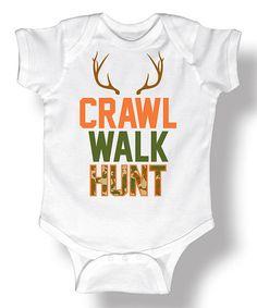 White 'Crawl Walk Hunt' Camo Bodysuit - Infant #zulily #zulilyfinds