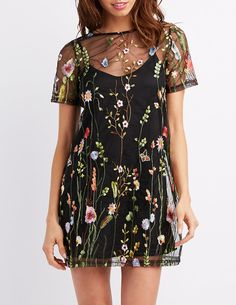 Embroidered Mesh Shift Dress | Charlotte Russe
