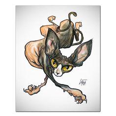 Cat Caricature Fine Art Print -Sphynx 2 – JohnLaFree.com