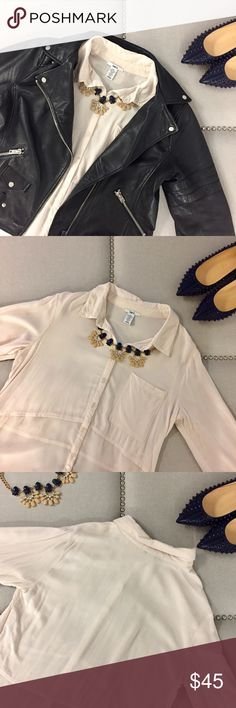 Nude Bar III Blouse Cute button down blouse with a sheer hi-lo detail! Only worn once! Rock it with a leather jacket or on its own! Bar III Tops