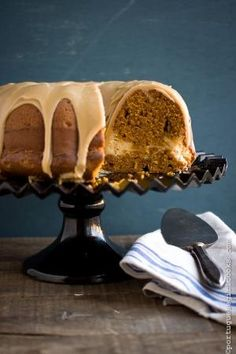 Pumpkin -Cream Cheese Swirl Bundt Cake with Brown Sugar Glaze from Portuguese Girl Cooks by Boo