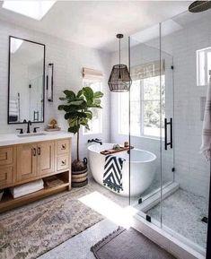 home loft Bathroom Inspiration // Loft Interior Boho Bathroom, Bathroom Renos, Bathroom Renovations, Master Bathroom, Home Remodeling, Bathroom Ideas, Kitchen Remodeling, French Bathroom, Eclectic Bathroom