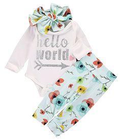 Newborn Baby Girls Romper+Floral Pants Leggings Headband 3pcs Outfits Set (0-6M)