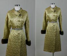 Vintage 50s French Couture Art Deco Metallic Brocade Fur Cuffs Opera Dress Coat
