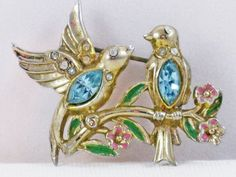 Vintage Early Coro Rhinestone Bill and Coo by delightfullyvintage