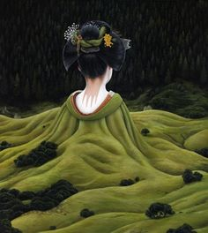 Moki is a Hamburg, Germany based artist who works on acrylic paintings of people, animals or imaginary creatures that seem to be surreal, asleep and dreaming in melancholy, lonesome landscapes.