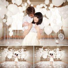 Balloon backdrop idea for engagement photos