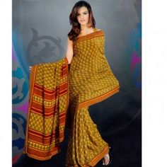 Golden yellow & red printed saree for $30