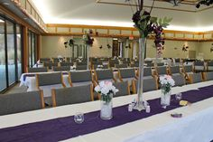 Great example of a dual-purpose ceremony/reception set-up in the Prairie Pavilion.  Set your tables up in a slight V formation, turn all the chairs toward the front, then turn the chairs around when it's time to eat! This set-up seats 130, but with a little creativity, 150 is possible!