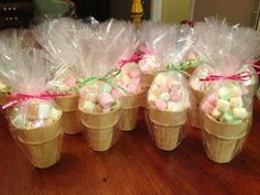 Ice cream party favors: colored marshmallows in sugar cones. could be great for wonderland party favors Fiesta Shower, Shower Party, Baby Shower Parties, Anniversaire Candy Land, Ice Cream Social, Party Treats, Unicorn Birthday Parties, Girl Birthday, Party Favors For Kids Birthday