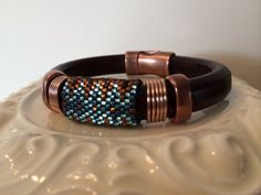 Regaliz leather bracelet 7.5 long.  Delica by BEADifulDAZEJewelry, $30.00