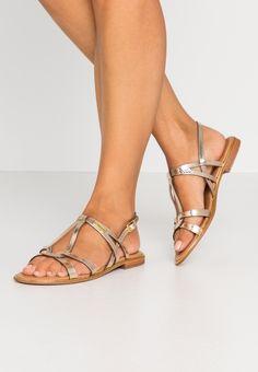 Les Tropéziennes par M Belarbi HACKLE - Sandales - or - ZALANDO.CH Metallic Look, Gladiator Sandals, Valentino, Lace Up, Flats, Heels, Style, Fashion, Sandals