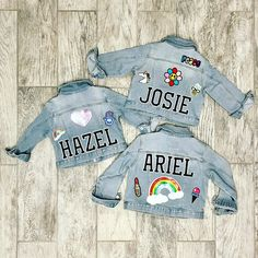 Girls denim jacket customized with your choice of patches. Choose from patch. Baby Denim Jacket, Denim Jacket Patches, Denim Jacket Fashion, Patch Jean Jacket, Jean Jacket Design, Denim Jacket Embroidery, Jean Jacket For Girls, Lingerie, Outfits