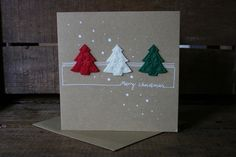 Handmade Christmas Card with three Christmas Trees