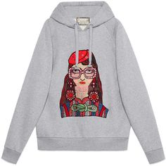 Gucci Unskilled Worker Hooded Sweatshirt found on Polyvore featuring tops, hoodies, ready-to-wear, sweatshirts & t-shirts, women, oversized hoodies, gray hoodie, oversized hooded sweatshirt, rhinestone hoodies and grey hoodies