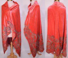 1920's Coral Pink Velvet Gold Lamé Soutache Cloak Cape Shawl