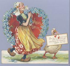 Knitting Dutch woman : Vintage Valentine Museum : Artist - Frances Brundage