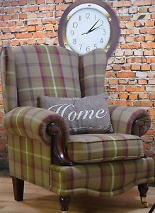 New Wing Back Queen Anne Cottage Chair Balmoral Heather Brown Plum Green Tartan Sofas. offers on top store Mauve Living Room, New Living Room, Living Room Chairs, Caravan Upholstery, Tartan Chair, Tartan Fabric, Queen Anne Chair, Country Cottage Interiors, Concrete Furniture