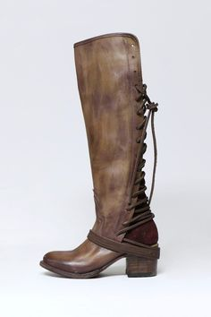 """A striking hand-distressed finish adds rustic appeal to a knee-high leather boot fashioned with a vintage-inspired lace up back shaft.  Whole sizes only; for 1/2 sizes order next size up.      Heel: 2 1/2""""  Shaft: 17 1/2""""  Shaft Circumference: 13"""" Coal Boot by Freebird by Steven. Shoes - Boots - Heeled Wisconsin"""