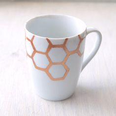 Oh Honey...Handpainted Honeycomb Porcelain Mug honey bee motif on Etsy, $15.00