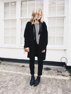 stripes, cardigan & boots.