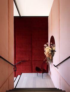 New Wall Design Corridor Colour Ideas Australian Interior Design, Interior Design Awards, Hotel Interiors, Red Interiors, Architecture Restaurant, Interior Architecture, Commercial Interior Design, Commercial Interiors, Interior Stairs