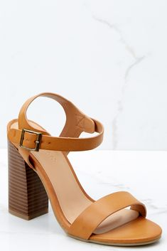 Chic Tan Heels - Ankle Strap Heels - Heels - $34 – Red Dress Boutique