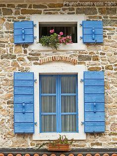 Istria, Croatia Istria Croatia, Diving Course, Croatian Recipes, Shutter Doors, Adriatic Sea, Unique Doors, Window Boxes, Walkways, Balconies