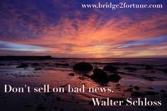Bad news are investor's best friend, because he gets the opportunity to buy at a bargain.
