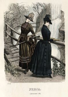 Category:Images from Nordiska museet/Fashion plates - Wikimedia Commons Victorian Era Fashion, 1870s Fashion, Victorian Costume, Victorian Steampunk, Vintage Fashion, Edwardian Clothing, Fashion Fashion, Historical Costume, Historical Clothing