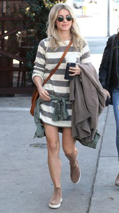 Julianne Hough in a striped mini dress and sneaker-booties - click ahead for more celebrity spring outfit ideas