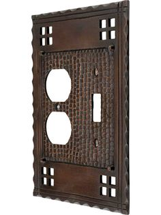 Arts and Crafts Toggle / Duplex Combination Switch Plate In Oil-Rubbed Bronze Copper Highlights, Antique Hardware, Outlet Covers, Switch Plates, Craftsman Style, Bronze Finish, Oil Rubbed Bronze, Arts And Crafts, Antiques