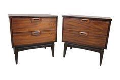 1960's American Walnut Nightstands - A Pair on Chairish.com